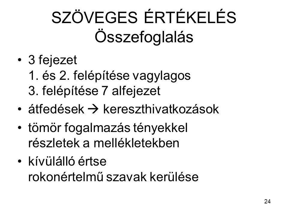 24 SZÖVEGES ÉRTÉKELÉS Összefoglalás 3 fejezet 1. és 2.