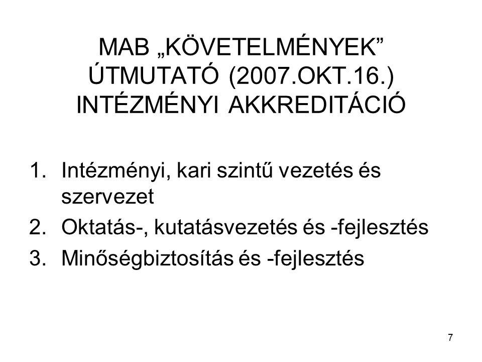 """7 MAB """"KÖVETELMÉNYEK ÚTMUTATÓ (2007.OKT.16.) INTÉZMÉNYI AKKREDITÁCIÓ 1.Intézményi, kari szintű vezetés és szervezet 2.Oktatás-, kutatásvezetés és -fejlesztés 3.Minőségbiztosítás és -fejlesztés"""