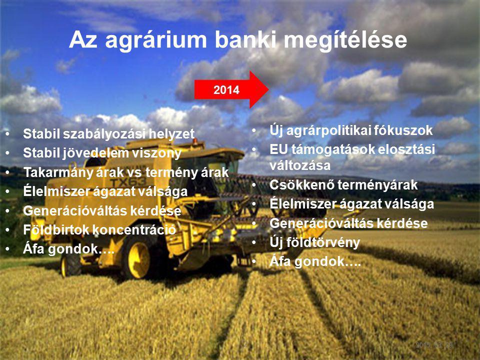 2015. 03. 29. 2 2 Stabil szabályozási helyzet Stabil jövedelem viszony Takarmány árak vs termény árak Élelmiszer ágazat válsága Generációváltás kérdés