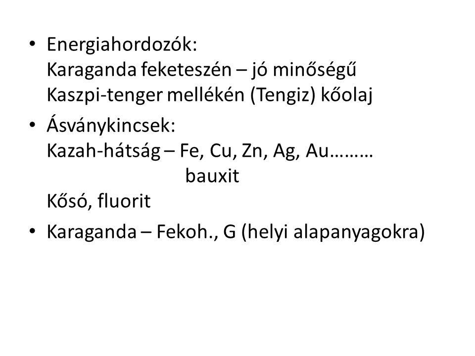 Energiahordozók: Karaganda feketeszén – jó minőségű Kaszpi-tenger mellékén (Tengiz) kőolaj Ásványkincsek: Kazah-hátság – Fe, Cu, Zn, Ag, Au……… bauxit Kősó, fluorit Karaganda – Fekoh., G (helyi alapanyagokra)