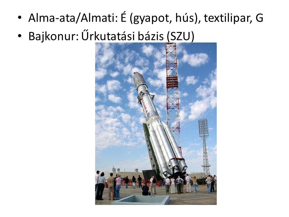 Alma-ata/Almati: É (gyapot, hús), textilipar, G Bajkonur: Űrkutatási bázis (SZU)