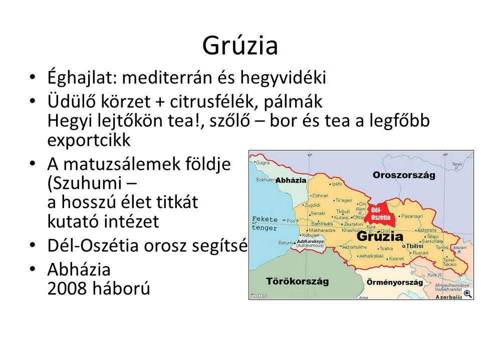 Grúzia Éghajlat: mediterrán és hegyvidéki Üdülő körzet + citrusfélék, pálmák Hegyi lejtőkön tea!, szőlő – bor és tea a legfőbb exportcikk A matuzsálemek földje (Szuhumi – a hosszú élet titkát kutató intézet Dél-Oszétia orosz segítséggel Abházia 2008 háború