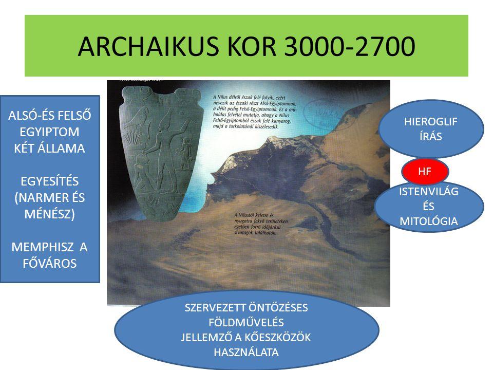 ARCHAIKUS KOR 3000-2700 ALSÓ-ÉS FELSŐ EGYIPTOM KÉT ÁLLAMA EGYESÍTÉS (NARMER ÉS MÉNÉSZ) MEMPHISZ A FŐVÁROS HIEROGLIF ÍRÁS ISTENVILÁG ÉS MITOLÓGIA SZERV