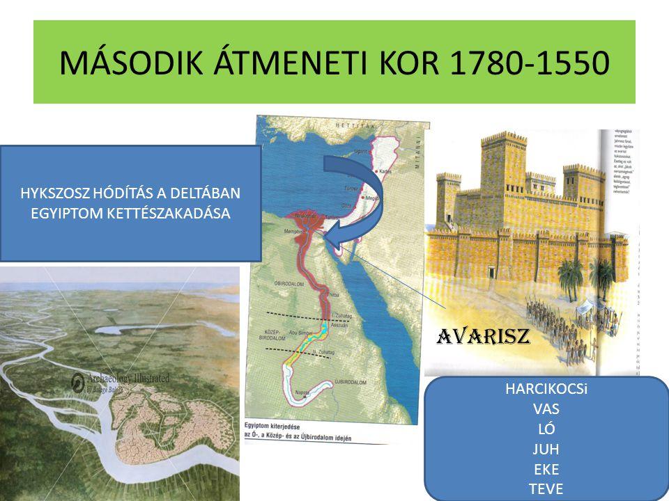 MÁSODIK ÁTMENETI KOR 1780-1550 HYKSZOSZ HÓDÍTÁS A DELTÁBAN EGYIPTOM KETTÉSZAKADÁSA AVARISZ HARCIKOCSi VAS LÓ JUH EKE TEVE