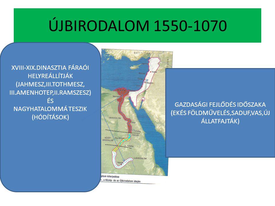 ÚJBIRODALOM 1550-1070 XVIII-XIX.DINASZTIA FÁRAÓI HELYREÁLLÍTJÁK (JAHMESZ,III.TOTHMESZ, III.AMENHOTEP,II.RAMSZESZ) ÉS NAGYHATALOMMÁ TESZIK (HÓDÍTÁSOK)