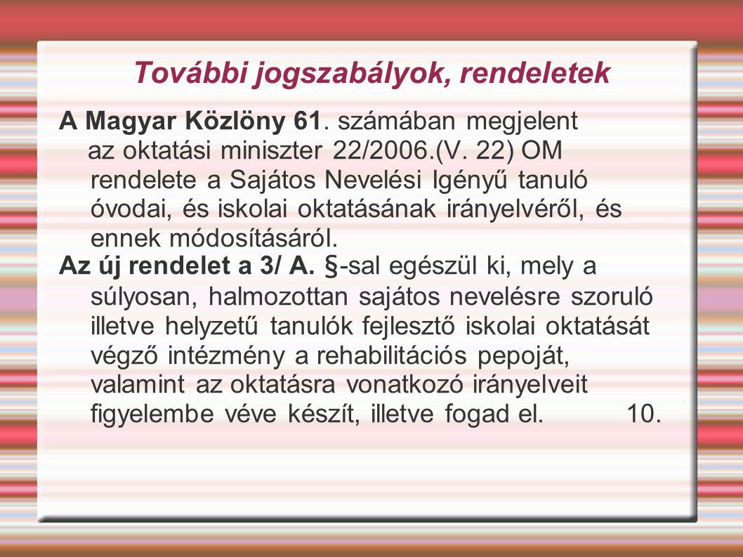 További jogszabályok, rendeletek A Magyar Közlöny 61. számában megjelent az oktatási miniszter 22/2006.(V. 22) OM rendelete a Sajátos Nevelési Igényű