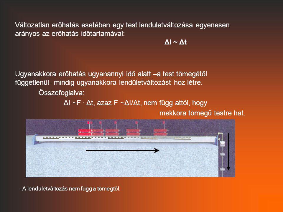 Változatlan erőhatás esetében egy test lendületváltozása egyenesen arányos az erőhatás időtartamával: ΔI ~ Δt Ugyanakkora erőhatás ugyanannyi idő alat