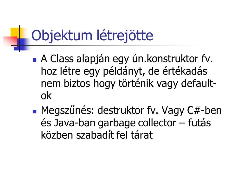 Objektum létrejötte A Class alapján egy ún.konstruktor fv. hoz létre egy példányt, de értékadás nem biztos hogy történik vagy default- ok Megszűnés: d