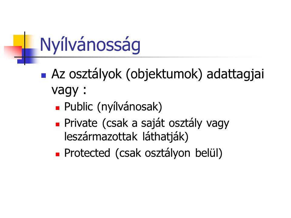 Nyílvánosság Az osztályok (objektumok) adattagjai vagy : Public (nyílvánosak) Private (csak a saját osztály vagy leszármazottak láthatják) Protected (csak osztályon belül)