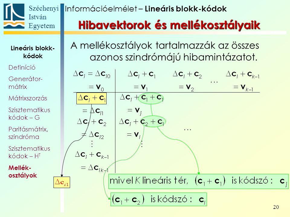Széchenyi István Egyetem 20 A mellékosztályok tartalmazzák az összes azonos szindrómájú hibamintázatot. Információelmélet – Lineáris blokk-kódok Lineá