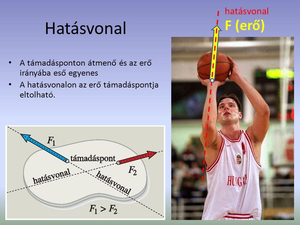 Hatásvonal A támadásponton átmenő és az erő irányába eső egyenes A hatásvonalon az erő támadáspontja eltolható. F (erő) hatásvonal