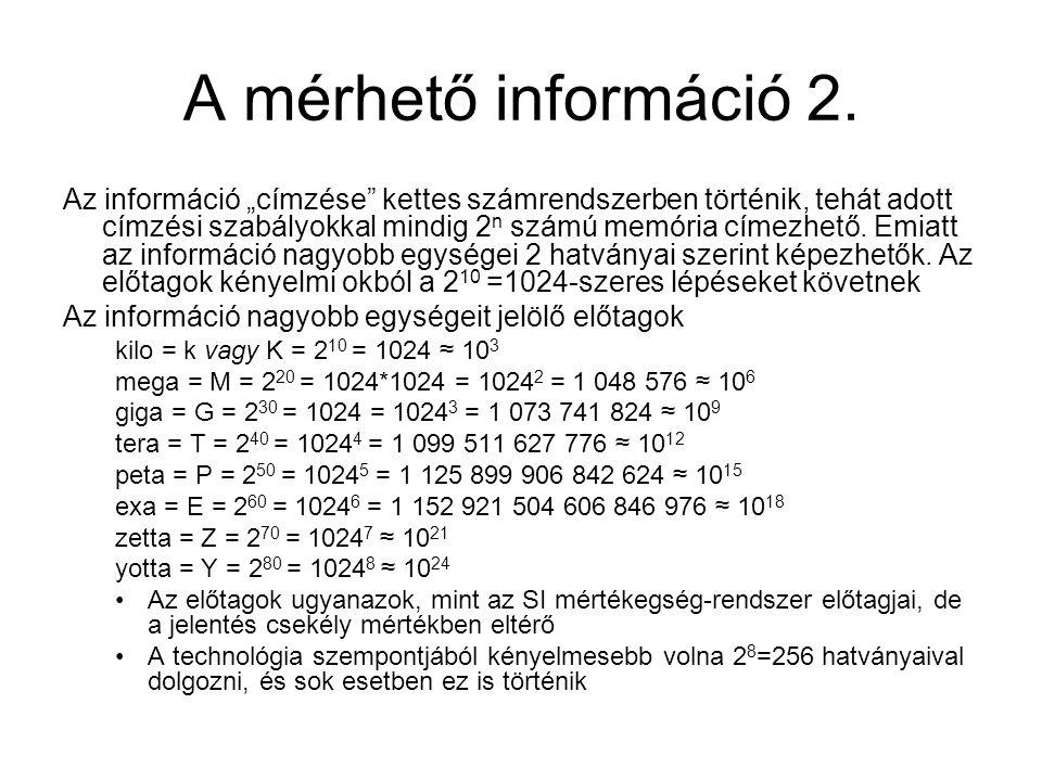 """A mérhető információ 2. Az információ """"címzése"""" kettes számrendszerben történik, tehát adott címzési szabályokkal mindig 2 n számú memória címezhető."""