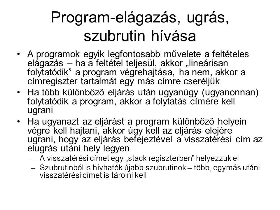 """Program-elágazás, ugrás, szubrutin hívása A programok egyik legfontosabb művelete a feltételes elágazás – ha a feltétel teljesül, akkor """"lineárisan fo"""