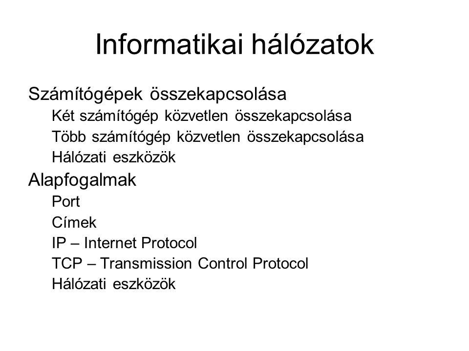 Informatikai hálózatok Számítógépek összekapcsolása Két számítógép közvetlen összekapcsolása Több számítógép közvetlen összekapcsolása Hálózati eszköz