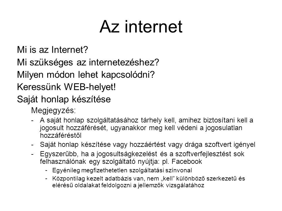 Az internet Mi is az Internet? Mi szükséges az internetezéshez? Milyen módon lehet kapcsolódni? Keressünk WEB-helyet! Saját honlap készítése Megjegyzé