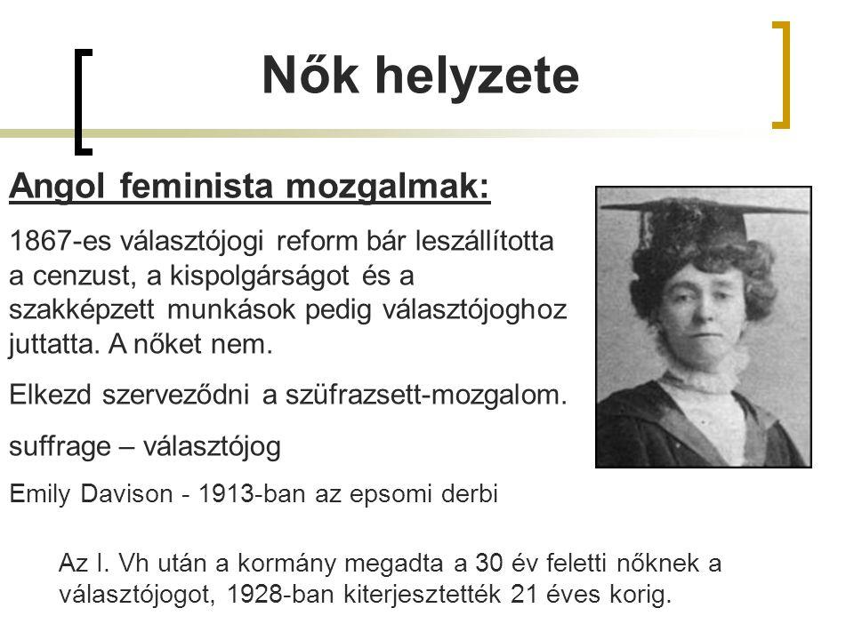 Nők helyzete Angol feminista mozgalmak: 1867-es választójogi reform bár leszállította a cenzust, a kispolgárságot és a szakképzett munkások pedig választójoghoz juttatta.