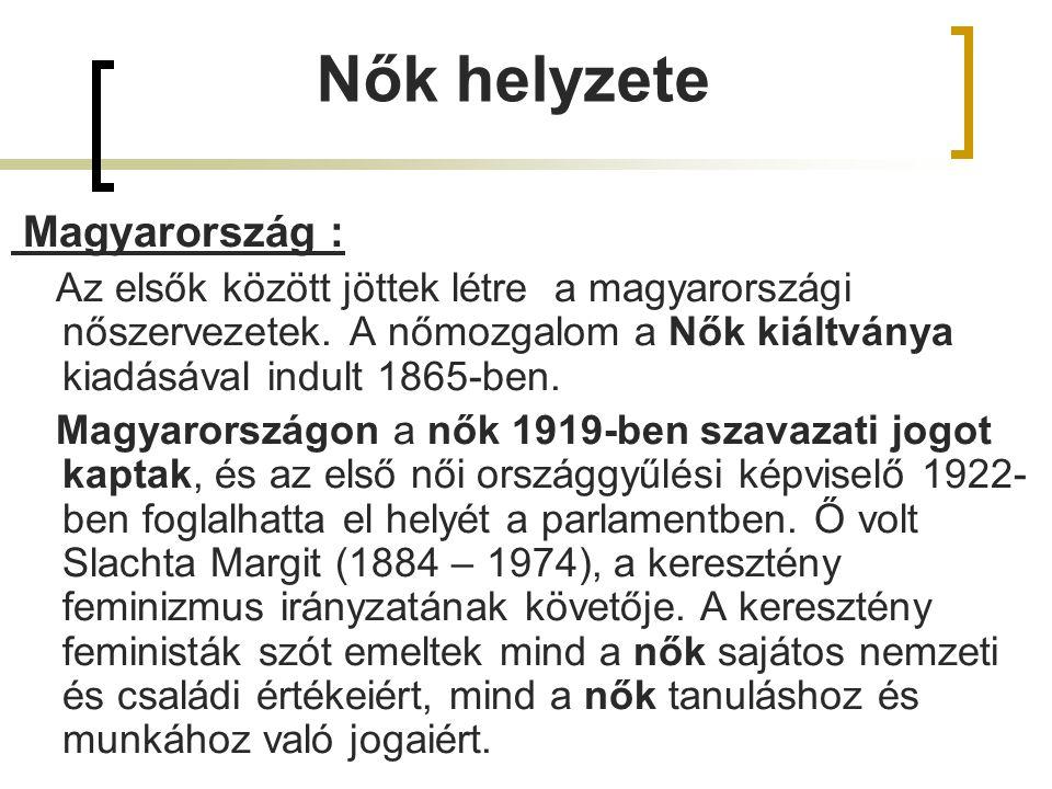 Nők helyzete Magyarország : Az elsők között jöttek létre a magyarországi nőszervezetek. A nőmozgalom a Nők kiáltványa kiadásával indult 1865-ben. Magy