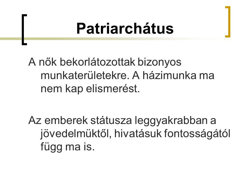 Patriarchátus A nők bekorlátozottak bizonyos munkaterületekre. A házimunka ma nem kap elismerést. Az emberek státusza leggyakrabban a jövedelmüktől, h