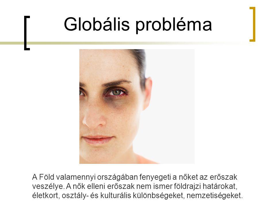 Globális probléma A Föld valamennyi országában fenyegeti a nőket az erőszak veszélye. A nők elleni erőszak nem ismer földrajzi határokat, életkort, os