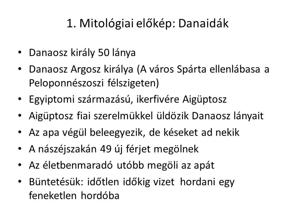 1. Mitológiai előkép: Danaidák Danaosz király 50 lánya Danaosz Argosz királya (A város Spárta ellenlábasa a Peloponnészoszi félszigeten) Egyiptomi szá
