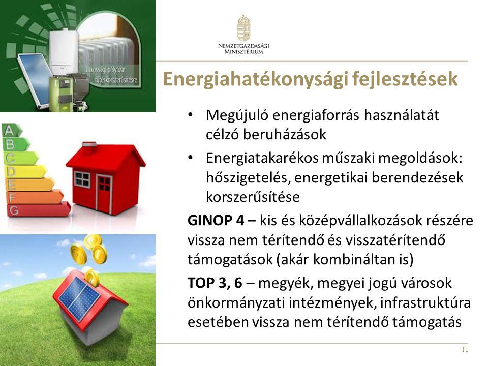 11 Energiahatékonysági fejlesztések Megújuló energiaforrás használatát célzó beruházások Energiatakarékos műszaki megoldások: hőszigetelés, energetikai berendezések korszerűsítése GINOP 4 – kis és középvállalkozások részére vissza nem térítendő és visszatérítendő támogatások (akár kombináltan is) TOP 3, 6 – megyék, megyei jogú városok önkormányzati intézmények, infrastruktúra esetében vissza nem térítendő támogatás