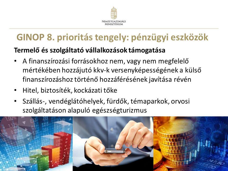 15 GINOP 8. prioritás tengely: pénzügyi eszközök Termelő és szolgáltató vállalkozások támogatása A finanszírozási forrásokhoz nem, vagy nem megfelelő