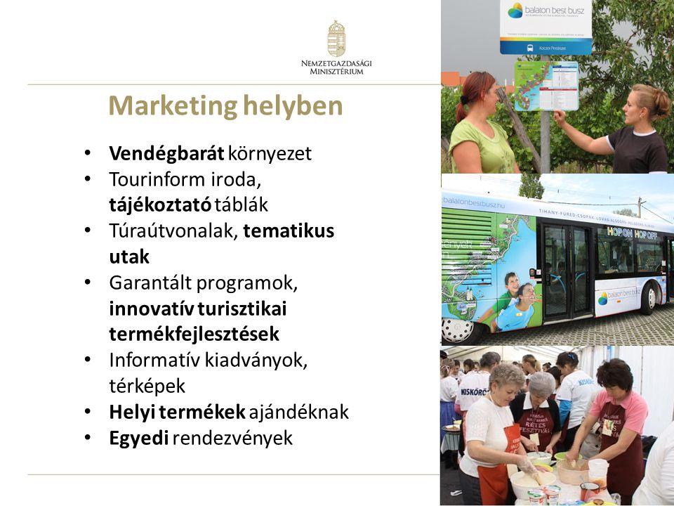21 Marketing helyben Vendégbarát környezet Tourinform iroda, tájékoztató táblák Túraútvonalak, tematikus utak Garantált programok, innovatív turisztikai termékfejlesztések Informatív kiadványok, térképek Helyi termékek ajándéknak Egyedi rendezvények