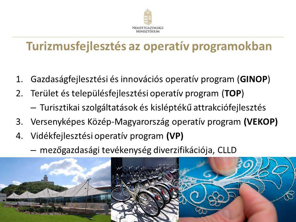 8 Turizmusfejlesztés az operatív programokban 1.Gazdaságfejlesztési és innovációs operatív program (GINOP) 2.Terület és településfejlesztési operatív