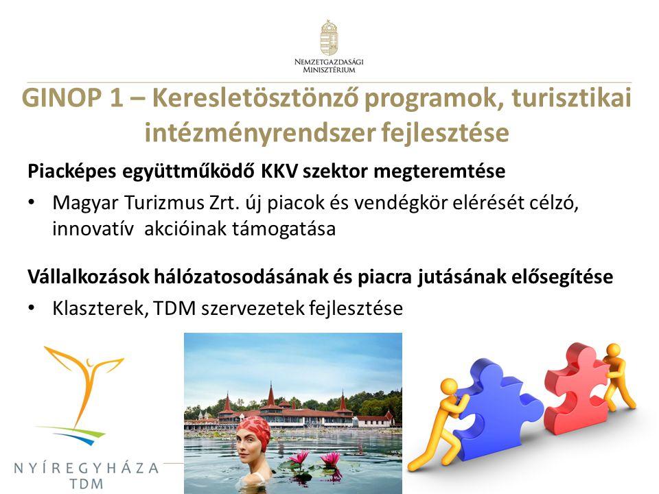 9 Piacképes együttműködő KKV szektor megteremtése Magyar Turizmus Zrt. új piacok és vendégkör elérését célzó, innovatív akcióinak támogatása Vállalkoz