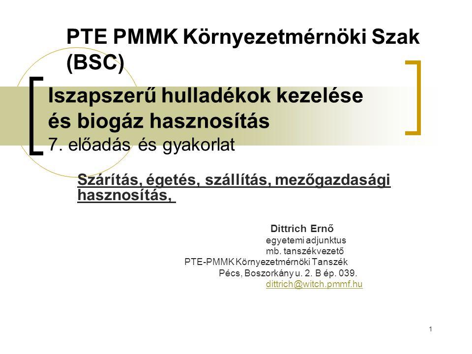 1 Iszapszerű hulladékok kezelése és biogáz hasznosítás 7. előadás és gyakorlat Szárítás, égetés, szállítás, mezőgazdasági hasznosítás, Dittrich Ernő e