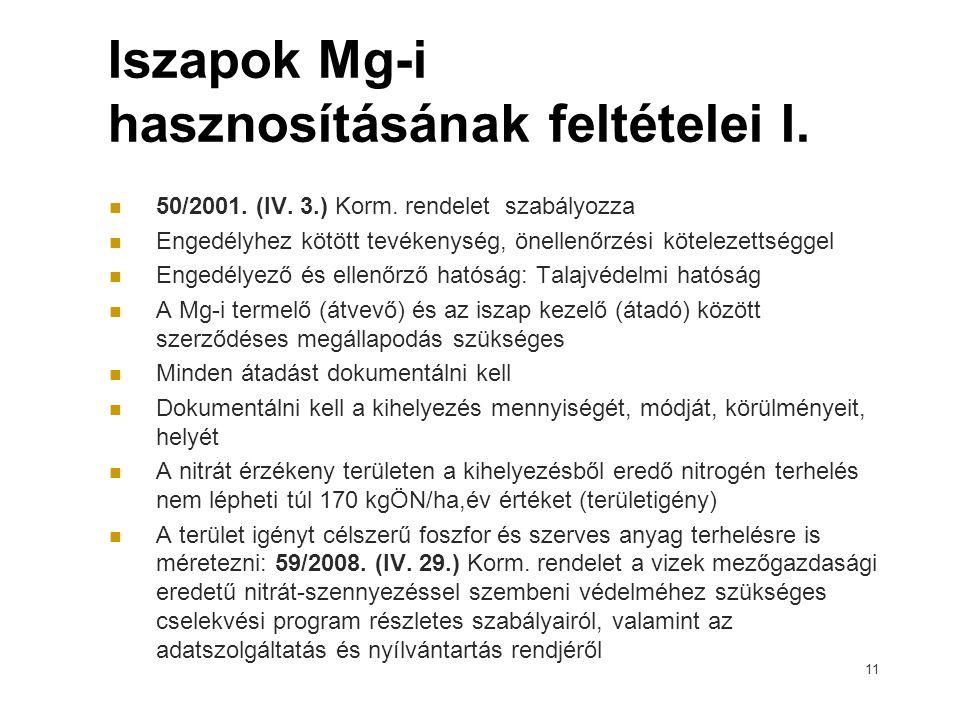 Iszapok Mg-i hasznosításának feltételei I. 50/2001. (IV. 3.) Korm. rendelet szabályozza Engedélyhez kötött tevékenység, önellenőrzési kötelezettséggel