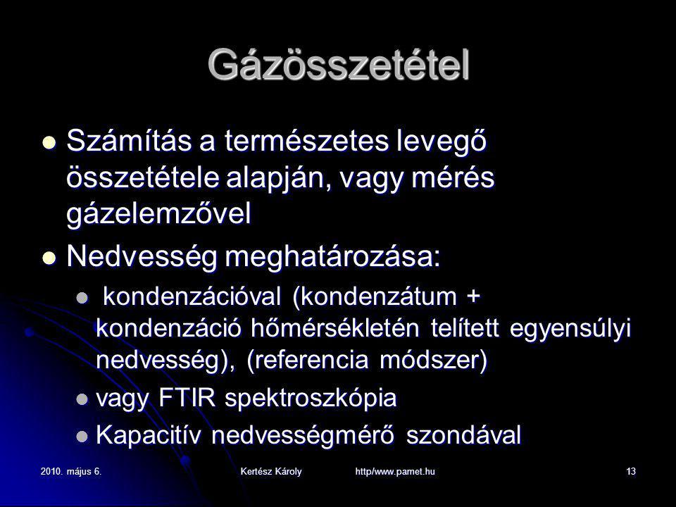 2010. május 6.Kertész Károly http/www.pamet.hu13 Gázösszetétel Számítás a természetes levegő összetétele alapján, vagy mérés gázelemzővel Számítás a t