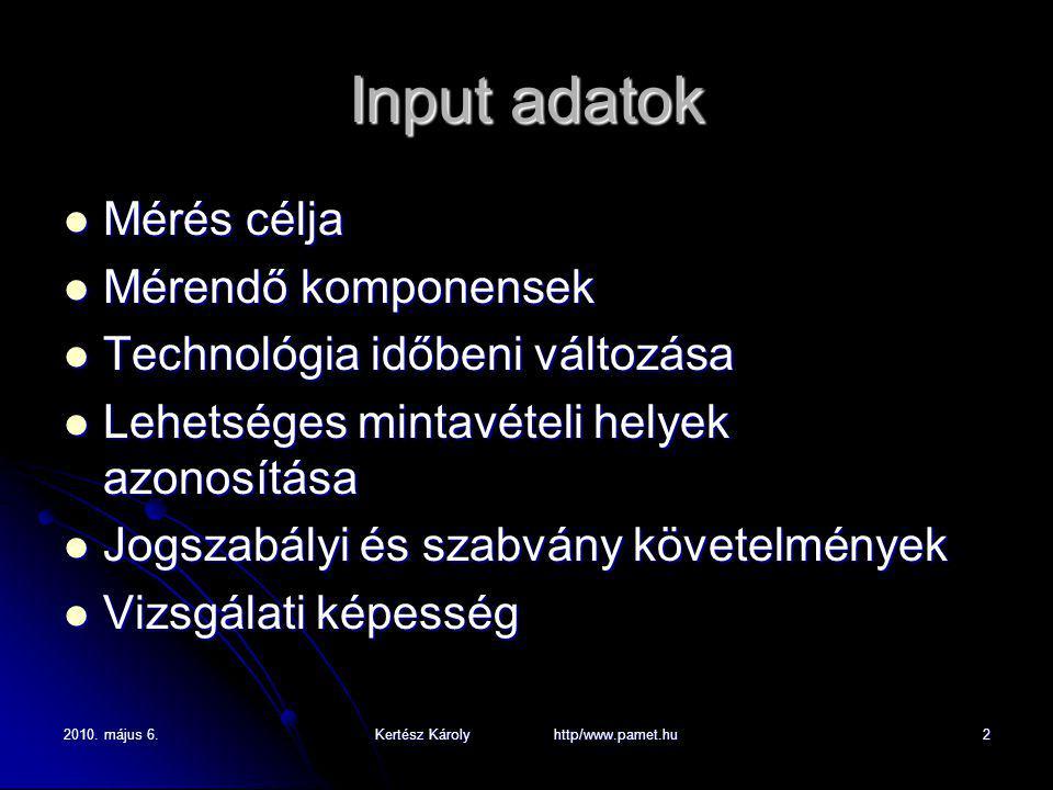 2010. május 6.Kertész Károly http/www.pamet.hu2 Input adatok Mérés célja Mérés célja Mérendő komponensek Mérendő komponensek Technológia időbeni válto