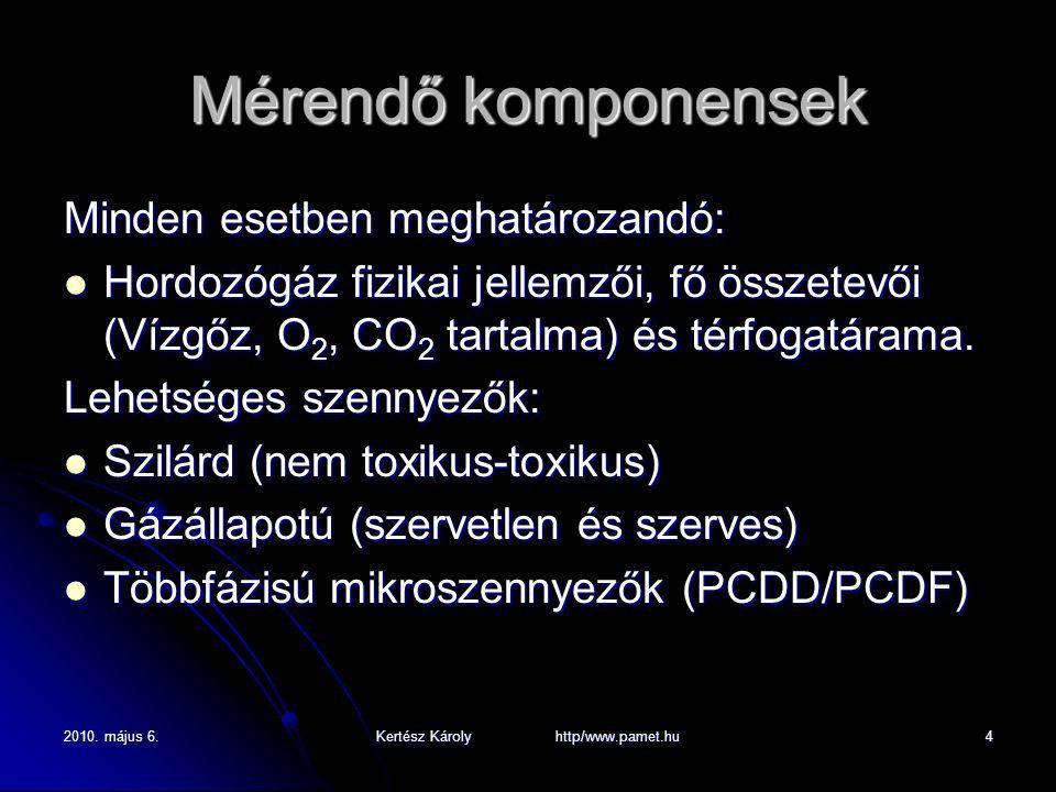 2010. május 6.Kertész Károly http/www.pamet.hu4 Mérendő komponensek Minden esetben meghatározandó: Hordozógáz fizikai jellemzői, fő összetevői (Vízgőz