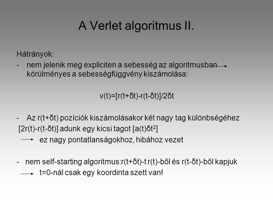 A Verlet algoritmus II.