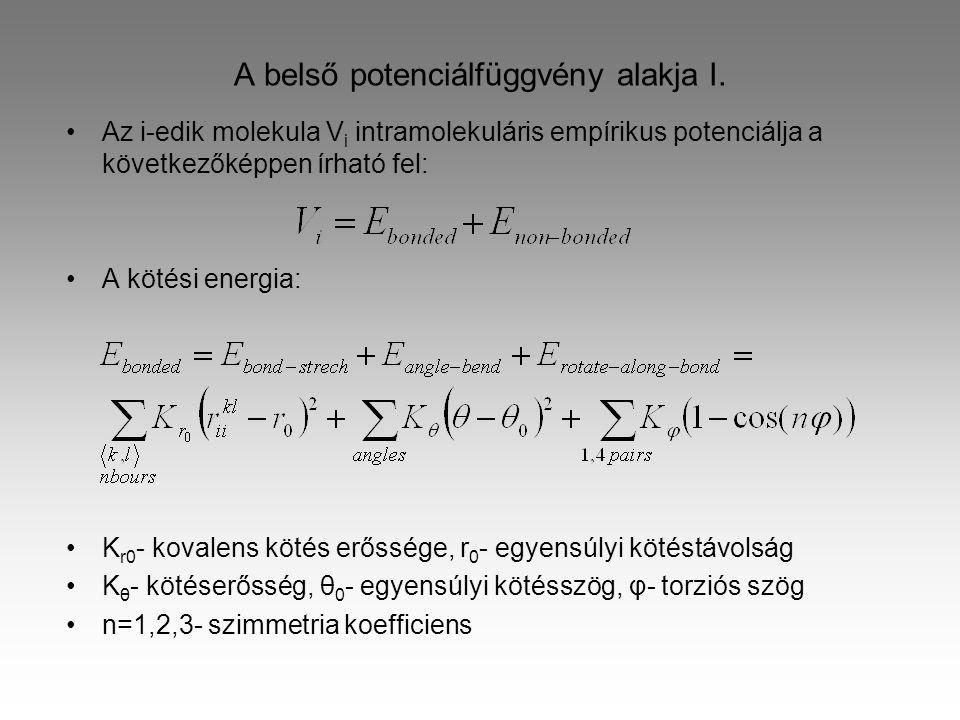 A belső potenciálfüggvény alakja II.