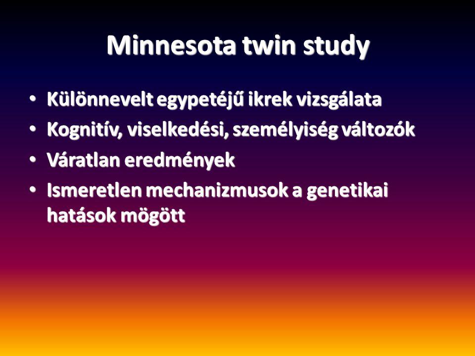 Minnesota twin study Különnevelt egypetéjű ikrek vizsgálata Különnevelt egypetéjű ikrek vizsgálata Kognitív, viselkedési, személyiség változók Kognití
