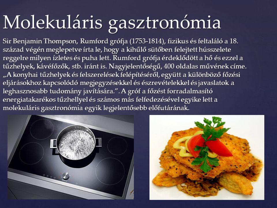 Sir Benjamin Thompson, Rumford grófja (1753-1814), fizikus és feltaláló a 18. század végén meglepetve írta le, hogy a kihűlő sütőben felejtett hússzel