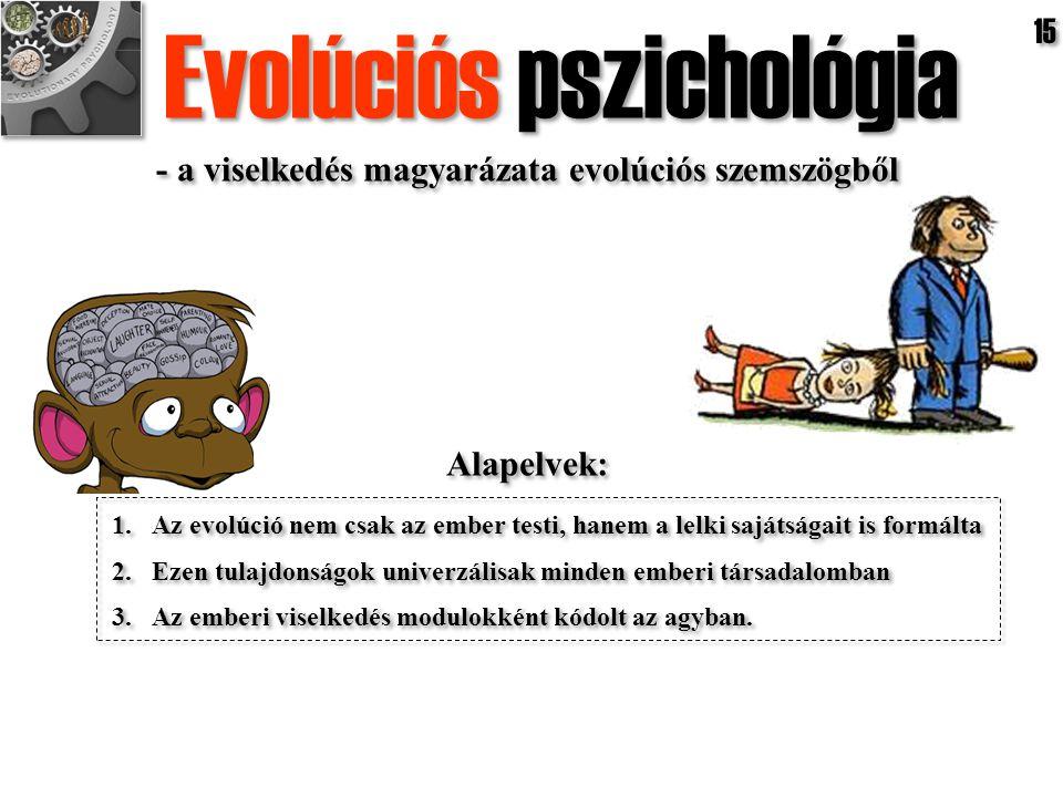 1.Az evolúció nem csak az ember testi, hanem a lelki sajátságait is formálta 2.Ezen tulajdonságok univerzálisak minden emberi társadalomban 3.Az ember