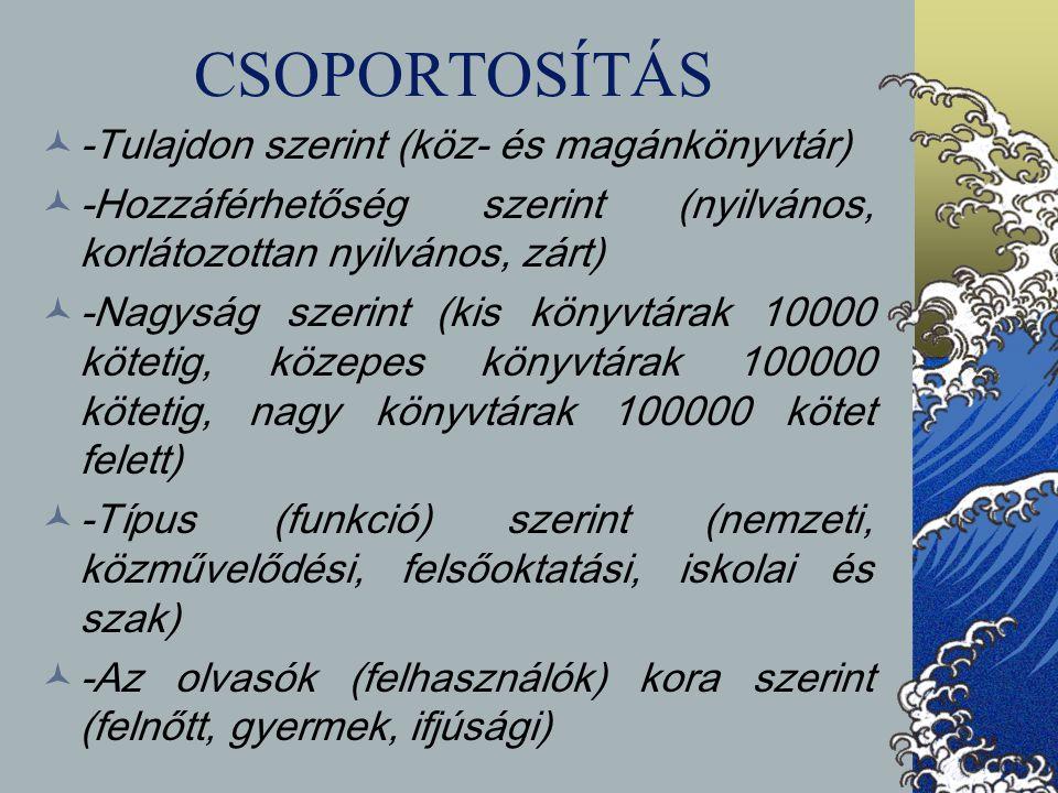 CSOPORTOSÍTÁS -Tulajdon szerint (köz- és magánkönyvtár) -Hozzáférhetőség szerint (nyilvános, korlátozottan nyilvános, zárt) -Nagyság szerint (kis köny