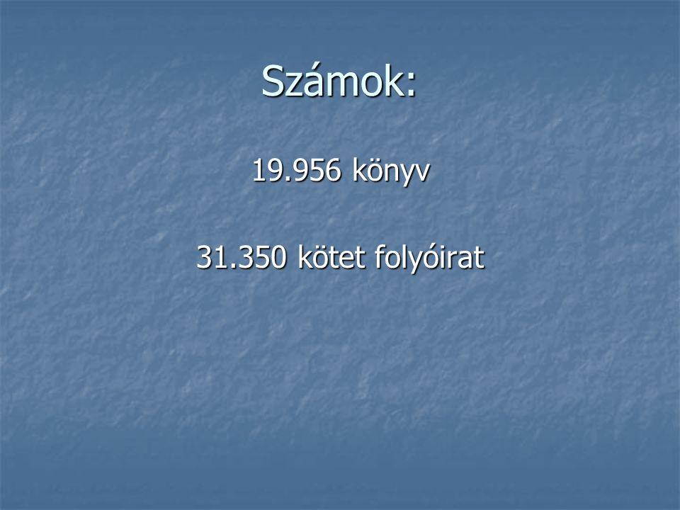 Számok: 19.956 könyv 31.350 kötet folyóirat