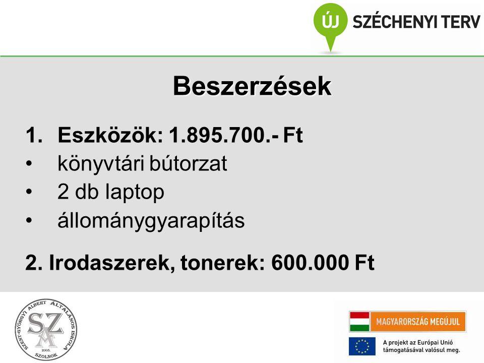 Beszerzések 1.Eszközök: 1.895.700.- Ft könyvtári bútorzat 2 db laptop állománygyarapítás 2.