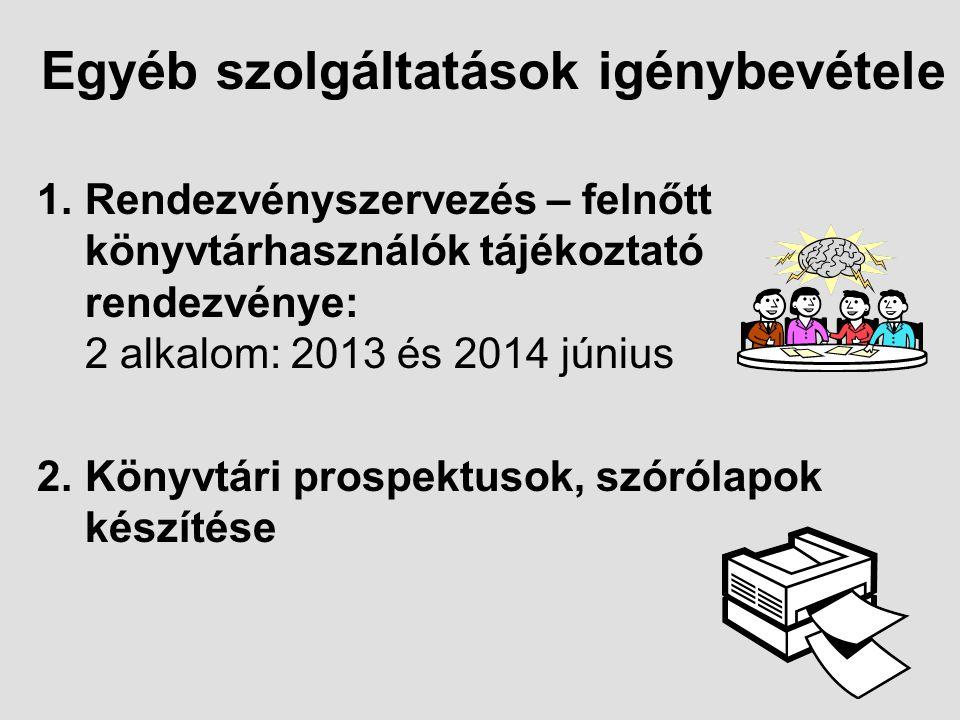 Egyéb szolgáltatások igénybevétele 1.Rendezvényszervezés – felnőtt könyvtárhasználók tájékoztató rendezvénye: 2 alkalom: 2013 és 2014 június 2.Könyvtári prospektusok, szórólapok készítése