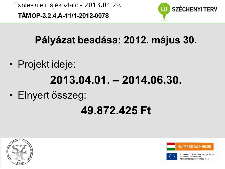 Pályázat beadása: 2012. május 30. Projekt ideje: 2013.04.01.