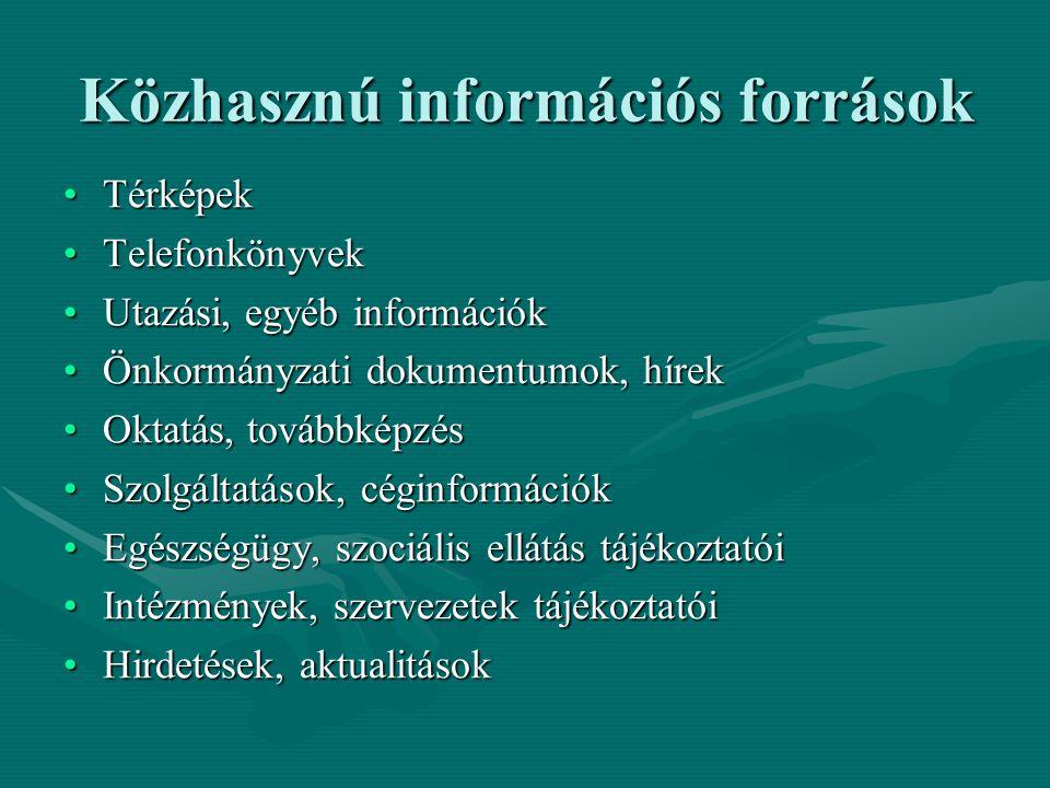Közhasznú információs források TérképekTérképek TelefonkönyvekTelefonkönyvek Utazási, egyéb információkUtazási, egyéb információk Önkormányzati dokumentumok, hírekÖnkormányzati dokumentumok, hírek Oktatás, továbbképzésOktatás, továbbképzés Szolgáltatások, céginformációkSzolgáltatások, céginformációk Egészségügy, szociális ellátás tájékoztatóiEgészségügy, szociális ellátás tájékoztatói Intézmények, szervezetek tájékoztatóiIntézmények, szervezetek tájékoztatói Hirdetések, aktualitásokHirdetések, aktualitások