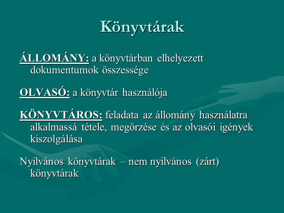 Könyvtárak ÁLLOMÁNY: a könyvtárban elhelyezett dokumentumok összessége OLVASÓ: a könyvtár használója KÖNYVTÁROS: feladata az állomány használatra alka