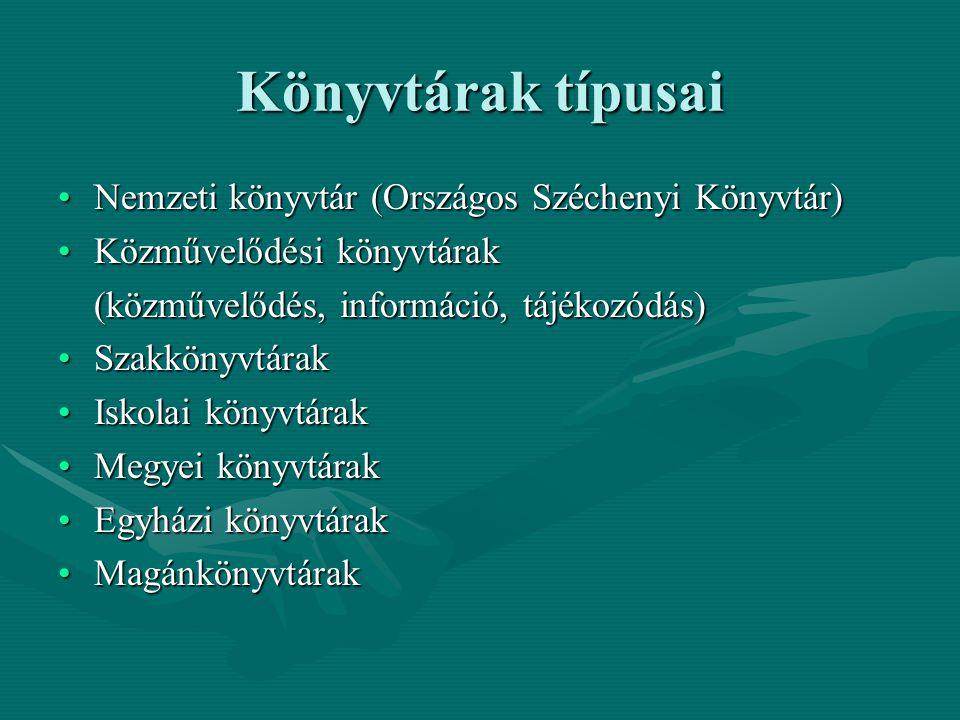 Könyvtárak típusai Nemzeti könyvtár (Országos Széchenyi Könyvtár)Nemzeti könyvtár (Országos Széchenyi Könyvtár) Közművelődési könyvtárakKözművelődési
