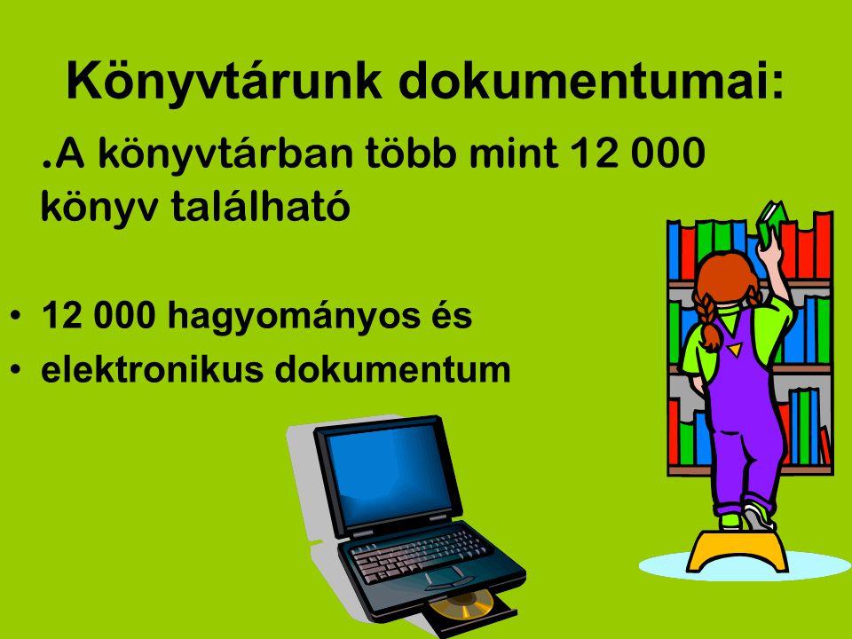 Könyvtárunk dokumentumai: 12 000 hagyományos és elektronikus dokumentum. A könyvtárban több mint 12 000 könyv található