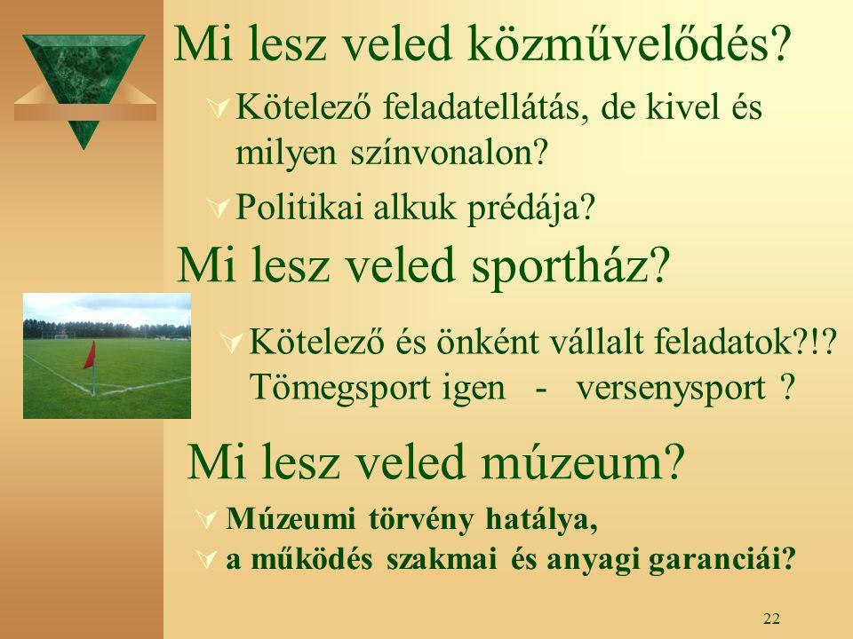 21 Intézményi jövőkép  Közösségi nyitott ház  Nyilvános könyvtár – info központ  Kistérségi kisugárzás  Felnőttképzési szerepkör erősítése  Múzeumi és turisztikai szerepkör .
