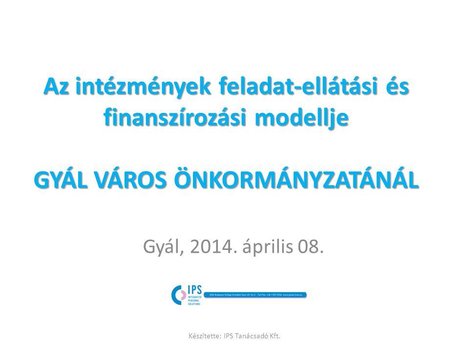 Munkamódszer 1.Az intézményi struktúrával, működéssel kapcsolatos problémák és tartalékok azonosítása 2.Az intézmények által nyújtott szolgáltatások osztályozása 3.Az intézményi SZMSZ-ek elemzése, a közfeladatok és ellátási feladatok szétválasztása 4.Feladat-ellátási és információáramlási szervezeti modell felállítása 5.Kulcs Teljesítmény Mutatók meghatározása mind a közfeladatokra, mind pedig az ellátási és vagyongazdálkodási funkciókra 6.Üzemeltetési megtakarítás ösztönzési modell kidolgozása Készítette: IPS Tanácsadó Kft.